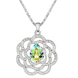Enchanted Flower Long Pendant Necklace Embellished with Crystals from Swarovski