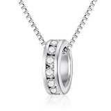 Infinite Love Ring Pendant Necklace Embellished with Crystals from Swarovski -WhtGld