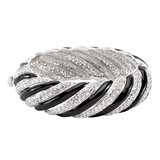 Large Black and White Twist Bangle