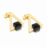 Stud Earrings Triangle & Cube - Gold / Black