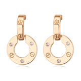 Circle Drop Earrings - Gold