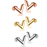 3 Prs Stud Earrings - V shaped - Rose Gold, Gold and White Gold