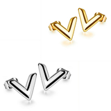 2 Prs Stud Earrings - V shaped - Gold and White Gold