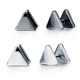 2 Prs Stud Earrings Triangle - White Gold and Jet Black