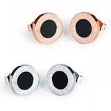 2 Prs Stud Earrings Greek Pattern - Rose Gold and White Gold