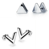 2 Prs White Gold Stud Earrings - White Gold