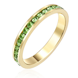 Stackable Ring - 14k Gold w Royal Green Ft Swarovski Crystals