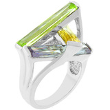 Sculptured Crystalised Ring -White Gold