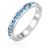Stackable Ring -Wht Gldw Blue Ft Swarovski Crystals