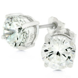 Solid 925 Sterling Silver 7mm Classic Stud Earrings with White Gold