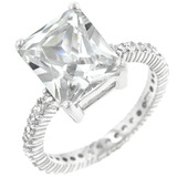 Solid 925 Princess Cut Pave Ring