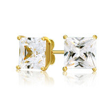 Solid 925 Sterling Silver Princess Cut Stud Earrings 7mm with 14k Gold