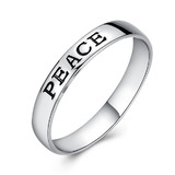 Solid 925 Sterling Slvr PEACE Ring