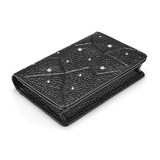Genuine Leather Wallet Ft Swarovski Crystals -Small