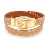 Genuine Cow Leather Wrap Bracelet With 18k Gold Buckle