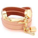 Genuine Cow Leather Wrap bracelet With 18k Gold Charms