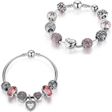 2pr Set Pandora Inspired Beaded Charm Bracelets