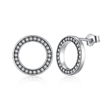 925 Sterling Silver Pave Halo Earrings