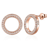925 Sterling Silver Rose Gold Pave Halo Earrings