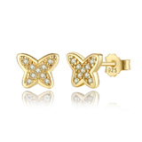 925 Sterling Silver Gold Plated Butterfly Earrings