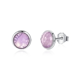 925 Sterling Silver Milky Pink Stud Earrings