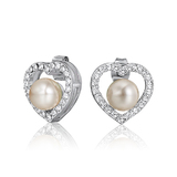 Pearl Heart Earrings Embellished with Crystals from Swarovski