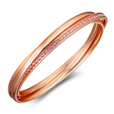 Interlinked Triple Bangle w/Swarovski  Crystals - Rose Gold