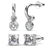 Earring Set w/Swarovski¨ Crystals - 2 Pairs - White Gold / Clear