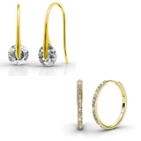 Earring Set w/Swarovski¨ Crystals - 2 Pairs - Gold / Clear