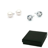 Boxed Double Stud Earrings Set -Pearl and Classic Studs Embellished with Crystals from Swarovski