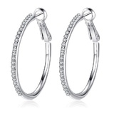 Pave Hoop Earrings Embellished with Crystals from Swarovski