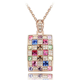 Pave Mosaic Pendant Necklace Embellished with Crystals from Swarovski -RG
