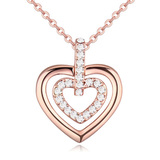 2 Hearts As 1 Pendant Necklace Embellished with Crystals from Swarovski