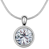 Classic Solitaire Pendant Necklace Embellished with Crystals from Swarovski