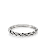 Narrow Black and White Twist Bangle