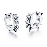 Hoop Earrings Spiked - White Gold