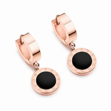 Drop Earrings Roman Numeral - Rose Gold / Black