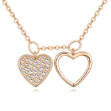 Dual Heart Pendant Necklace - Gold / Clear
