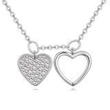 Dual Heart Pendant Necklace - White Gold / Clear