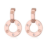 Circle Drop Earrings - Rose Gold