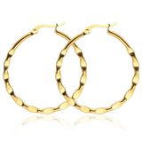 Textured Hoop Earrings 30mm - Gold
