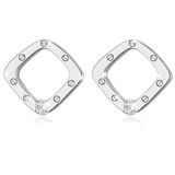 Contemporary square earrings with Cubic Zirconia