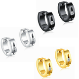 3 Prs Huggie Hoop Earrings - White Gold, Gold and Jet Black