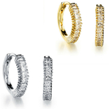 2 Prs Huggie Earrings with single Row Pave - Gold and White Gold
