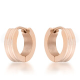 Stainless Steel Hoop Earrings - Rose Gold