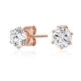 Classic 3.4ct CZ Stainless Steel Stud Earrings - Rose Gold